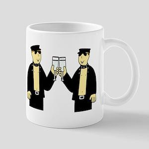 Gay men in leather celebrating. Mugs