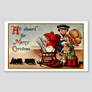 Vintage Christmas Greetings -  Sticker (Rectangle)