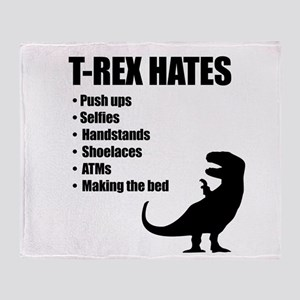 T-Rex Hates Bullet List Throw Blanket