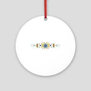 Scandinavian Floral Border Ornament (Round)