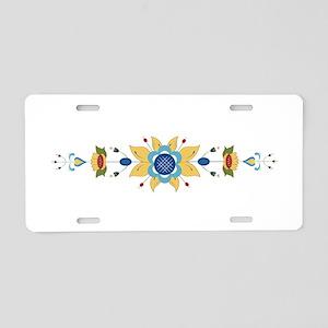Scandinavian Floral Border Aluminum License Plate