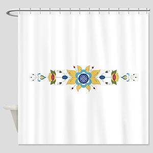 Scandinavian Floral Border Shower Curtain