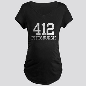Distressed Pittsburgh 412 Maternity T-Shirt