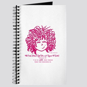 Curly Haired Girl Phillipians 4:13 Journal