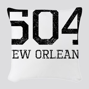 Distressed New Orleans 504 Woven Throw Pillow