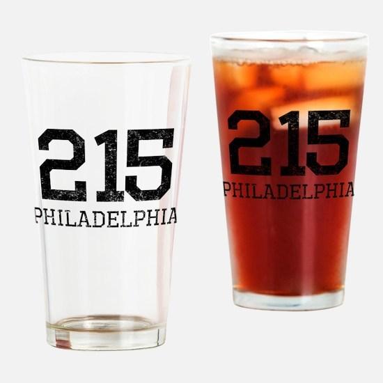 Distressed Philadelphia 215 Drinking Glass