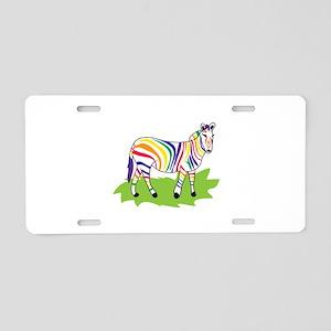 Rainbow Zebra Aluminum License Plate