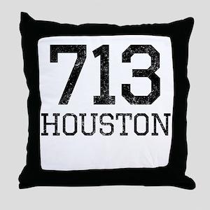 Distressed Houston 713 Throw Pillow