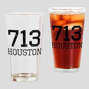 Distressed Houston 713 Drinking Glass