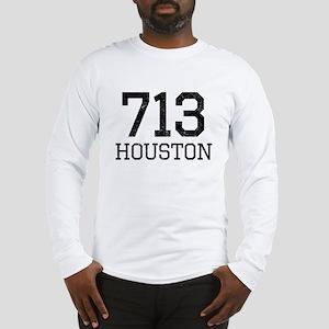Distressed Houston 713 Long Sleeve T-Shirt