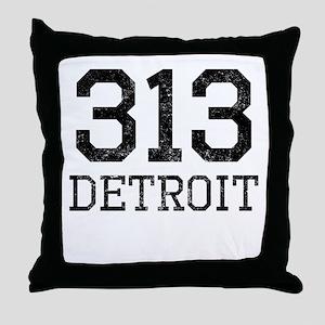 Distressed Detroit 313 Throw Pillow