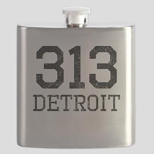 Distressed Detroit 313 Flask