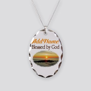 BLESSED BY GOD Necklace Oval Charm