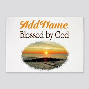 BLESSED BY GOD 5'x7'Area Rug