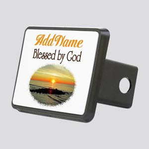 BLESSED BY GOD Rectangular Hitch Cover