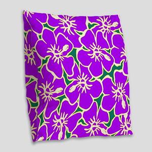 Tropical Purple Hibiscus Flowers Burlap Throw Pill