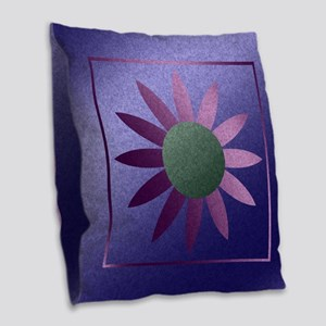 Flower Pink And Purple Burlap Throw Pillow