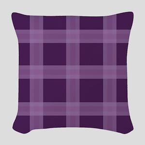 Plaid Purple Lavender Woven Throw Pillow