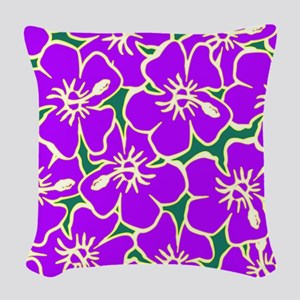 Tropical Purple Hibiscus Flowers Woven Throw Pillo