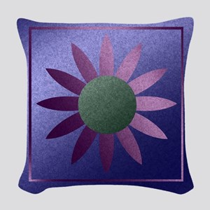 Flower Pink And Purple Woven Throw Pillow