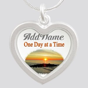 ONE DAY AT A TIME Silver Heart Necklace
