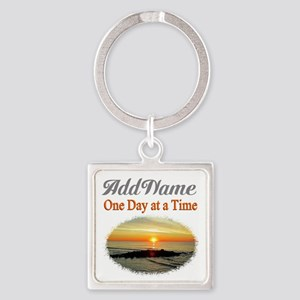 ONE DAY AT A TIME Square Keychain