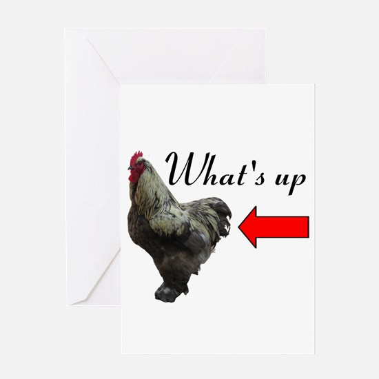 Whats Up Chicken Butt Funny Greeting Cards