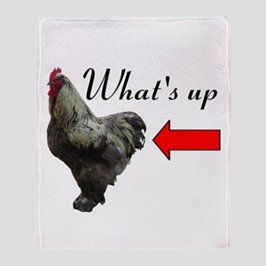 Whats Up Chicken Butt Funny Throw Blanket
