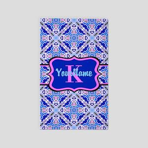 Pink Blue Geometric Pattern Monogr 3'x5' Area Rug