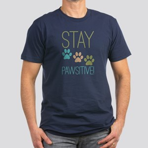 Stay Pawsitive Men's Fitted T-Shirt (dark)