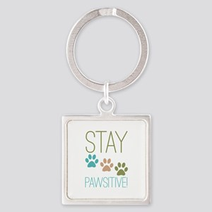 Stay Pawsitive Square Keychain