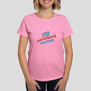 Custom Swim Optional Text Women's Dark T-Shirt