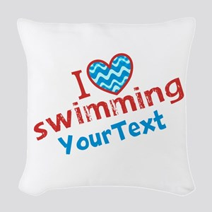 Custom Swim Optional Text Woven Throw Pillow