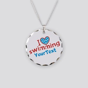 Swimming Optional Text Necklace Circle Charm