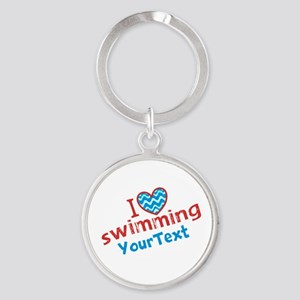 Swimming Optional Text Round Keychain