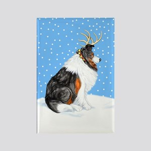 Collie Deer Tri Color Rectangle Magnet