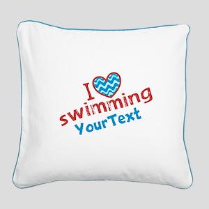 CUSTOMIZE I Love Swimming Square Canvas Pillow
