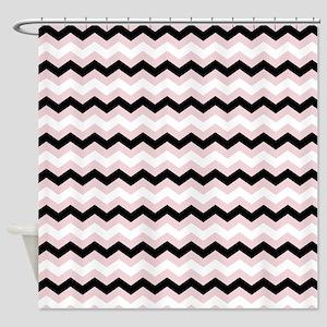 Pink White Black Chevron Shower Curtain