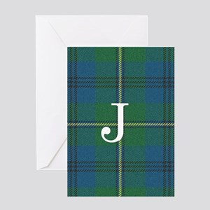 Johnson Family tartan plaid Monogrammed Greeting C