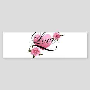 Pink Love Rose Bumper Sticker