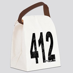 Distressed Pittsburgh 412 Canvas Lunch Bag