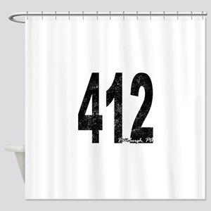 Distressed Pittsburgh 412 Shower Curtain