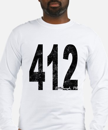 Distressed Pittsburgh 412 Long Sleeve T-Shirt