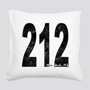 Distressed New York 212 Square Canvas Pillow