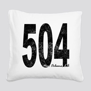 Distressed New Orleans 504 Square Canvas Pillow