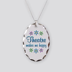 Theatre Happy Necklace Oval Charm