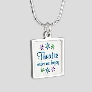 Theatre Happy Silver Square Necklace