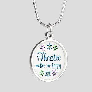 Theatre Happy Silver Round Necklace