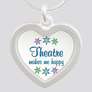 Theatre Happy Silver Heart Necklace