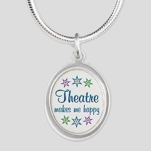 Theatre Happy Silver Oval Necklace